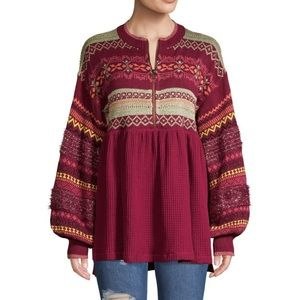 Free People Cozy Cabin Sweater Pomegranate Wine